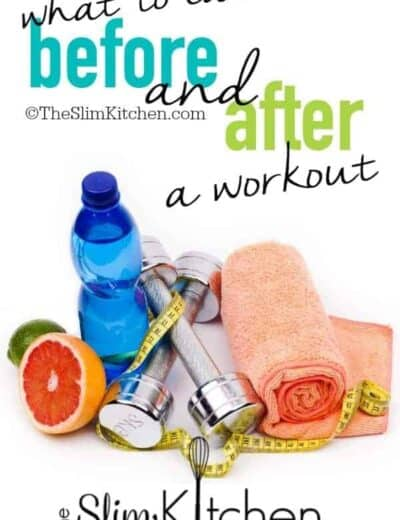 fruit, water bottle, towel, dumbbells and a measuring tape