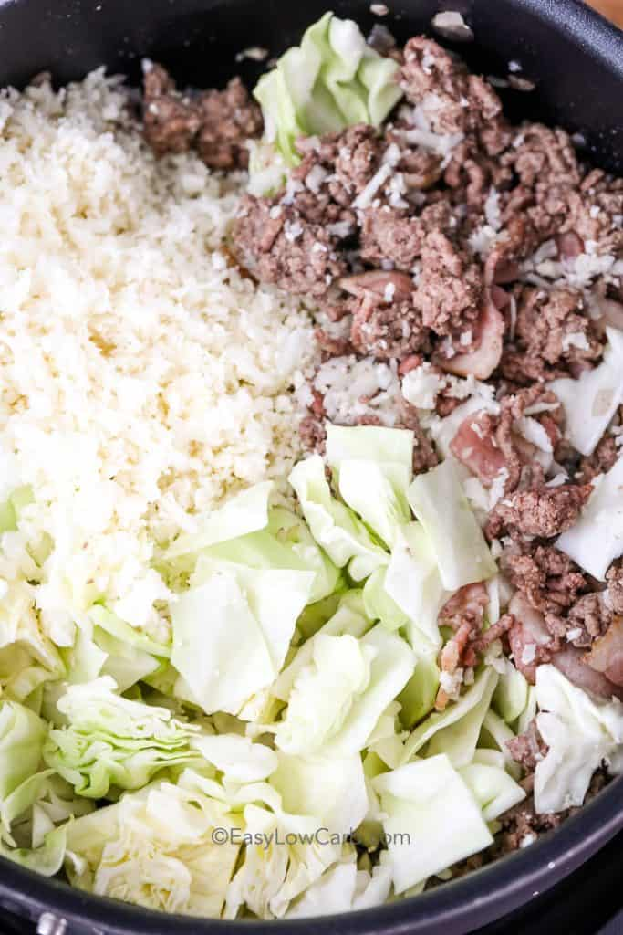 ingredients for Low Carb Pork and Cabbage Skillet