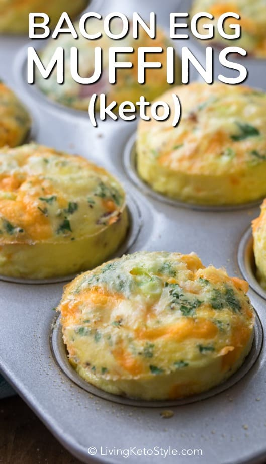 Keto Egg Muffins are one of my all time favorite breakfast recipes! Fresh eggs, green onions, cream, cheese, and bacon are all baked into a muffin tin to give you the perfect portable healthy breakfast (or lunch) option! #easylowcarb #ketorecipe #eggmuffins #healthybreakfast #easyrecipe #quickbreakfast #makeahead #withbacon #withcheese #togo #easylunch #easybreakfast