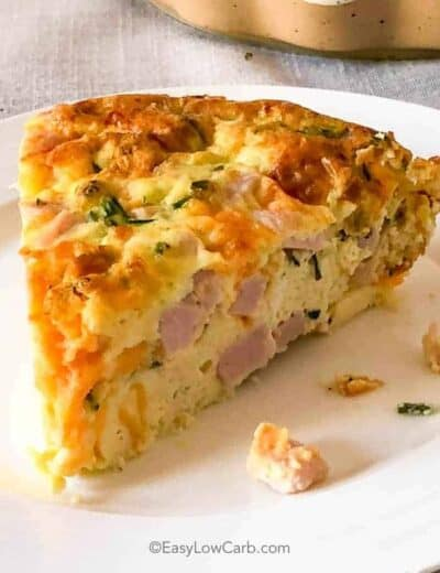 Crustless Ham and Cheese Quiche served on a white plate
