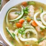 a bowl of low carb chicken soup with zoodles
