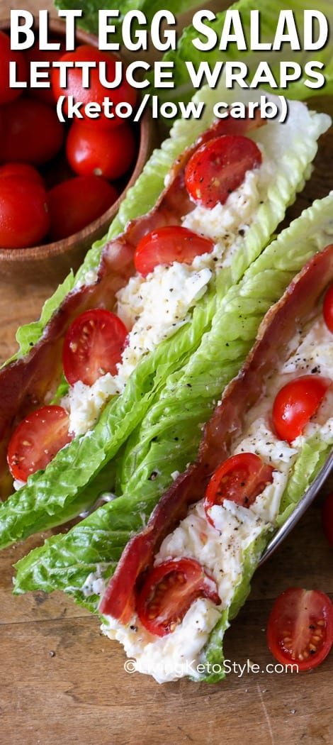 Classic Egg Salad piled high in lettuce leaves with bacon and tomatoes makes the perfect easy keto lunch or snack! #livingketostyle #ketorecipe #bltrecipe #eggsalad #blteggsalad #bltlettucewraps #easyrecipe #lunchrecipe #lettucewraps