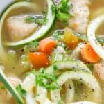 Low Carb Chicken Soup made with zucchini noodles, or zoodles
