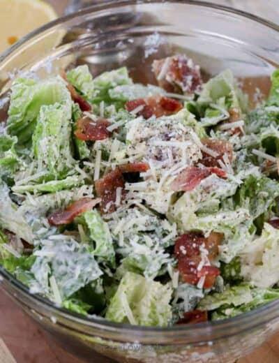 overhead of Caesar Salad