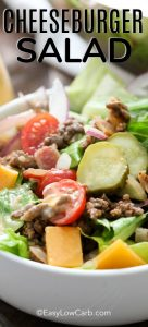 Bacon Cheeseburger Salad is an easy and delicious meal option that is low carb, and ready in just 20 minutes! #easylowcarb #keto #lowcarb #cheeseburger #baconcheeseburgersalad #salad #cheeseburgersalad