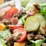 Bacon Cheeseburger Salad closeup with text