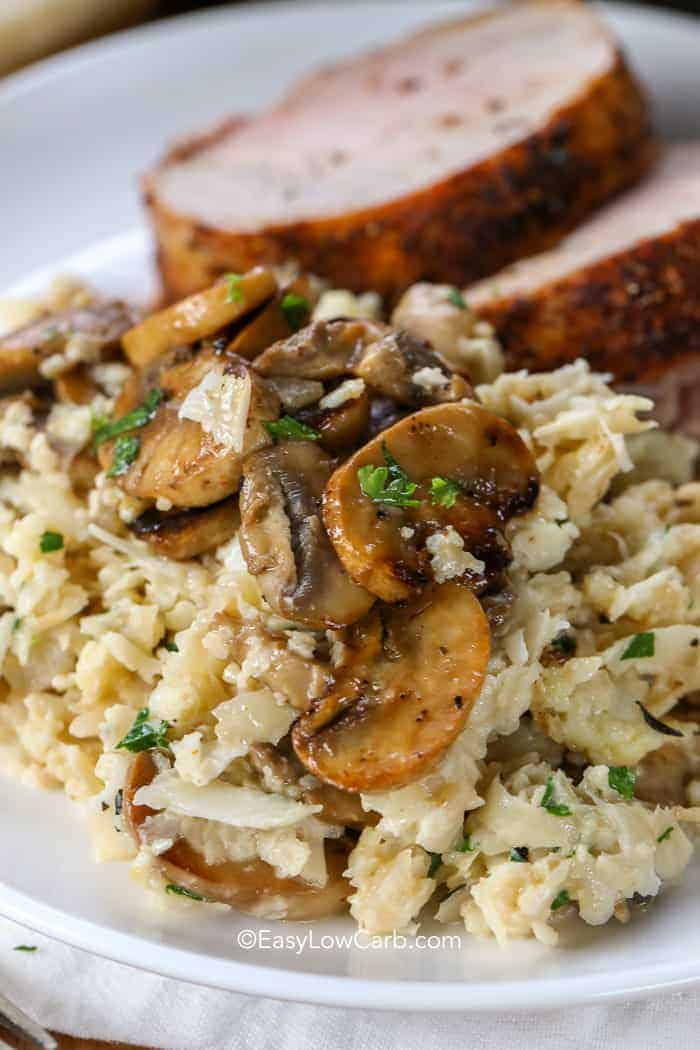 Cauliflower Mushroom Risotto Low Carb Easy Low Carb