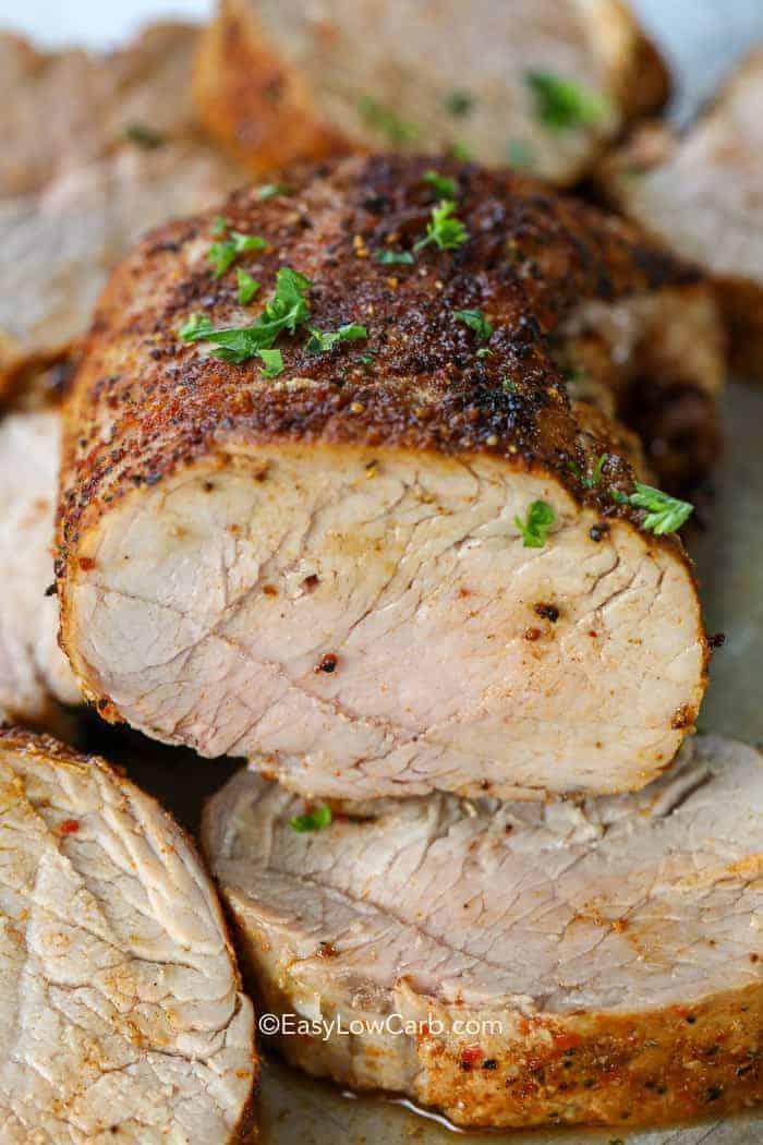 slicing a Low Carb Pork Tenderloin