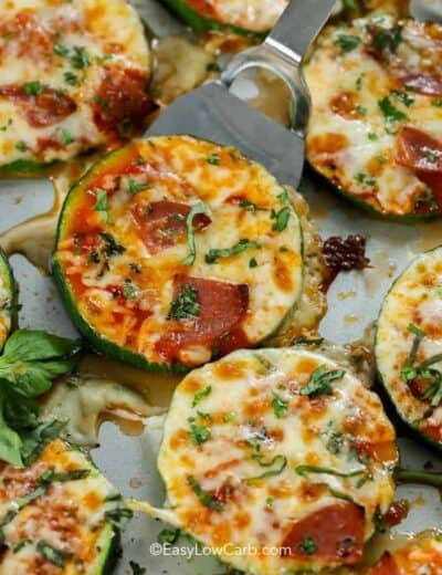 serving up a Low Carb Zucchini Pizza Bite