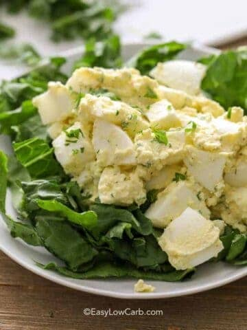 Low Carb Egg Salad on a bed of lettuce