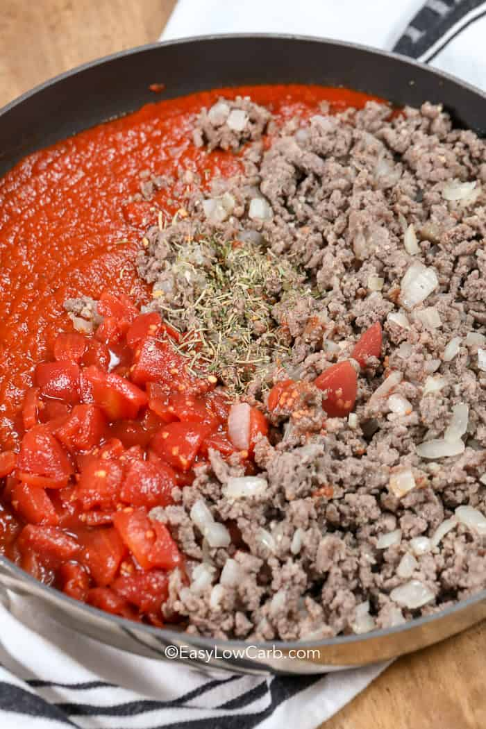 Ingredients for easy meat sauce in a saucepan ready to be mixed.