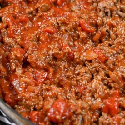 Low Carb Meat Sauce in a skillet
