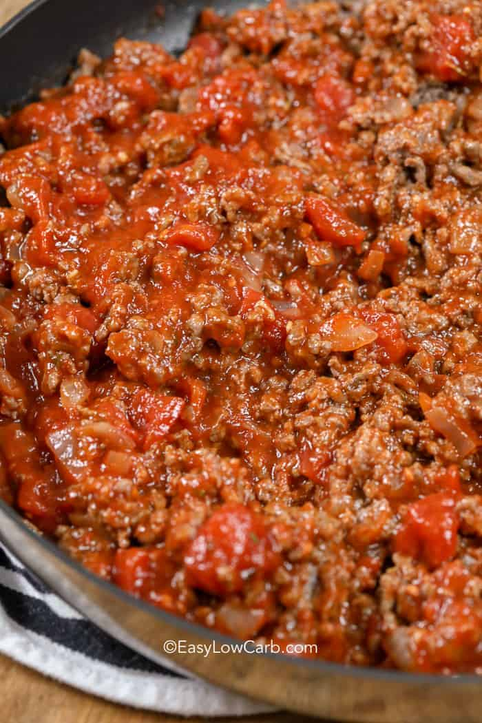 Easy low carb meat sauce in a saucepan.