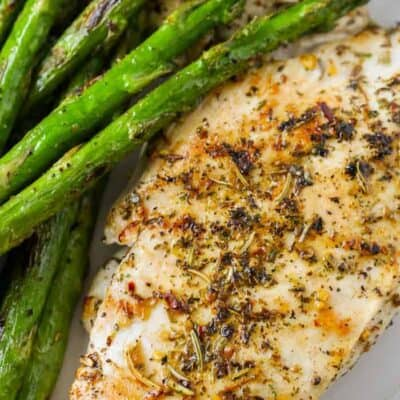 overhead of Low Carb Roasted Chicken Breast with asparagus