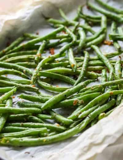 Low Carb Roasted Green Beans on parchment