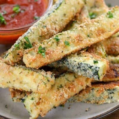 Low Carb Zucchini Fries on a plate with marinara