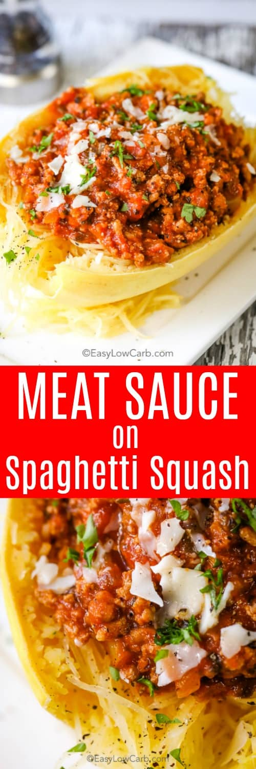 Spaghetti squash with meat sauce is one of our favorite dinners ever! What is better than comfort food without the guilt of carbs? #easylowcarb #spaghettisquash #sauce #keto #meatsauce #squash