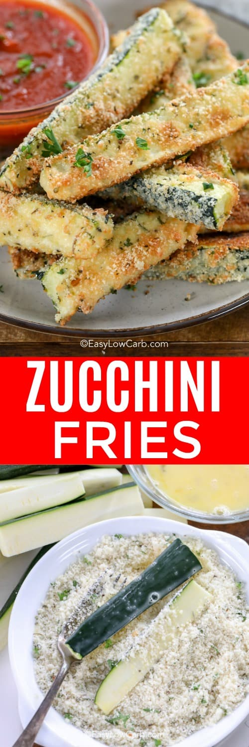 Crispy zucchini fries on a plate, and with marinara dipping sauce