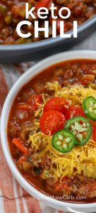 This keto chili recipe is the perfect comfort food for the football season! It is healthy and comes out so flavorful every time! #easylowcarb #keto #lowcarb #chili #ketochili #groundbeef #tomato #veggies