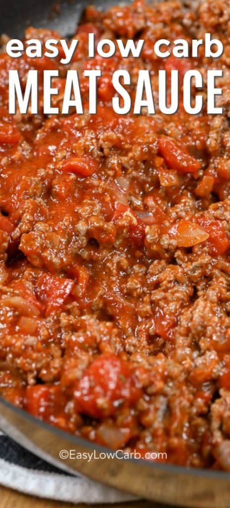 Zesty easy low carb meat sauce in a saucepan.