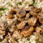Cauliflower mushroom risotto closeup with text