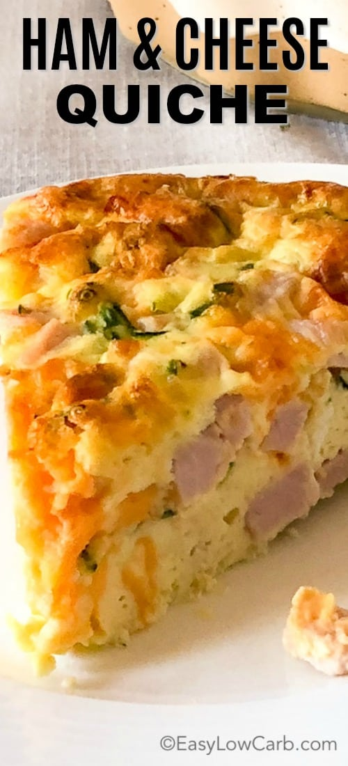 closeup of Crustless Ham and Cheese Quiche on a plate
