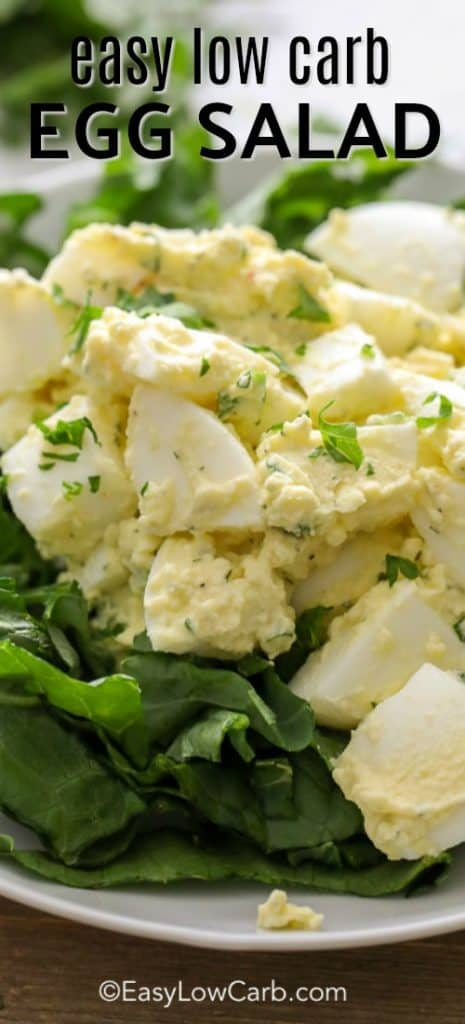 easy low carb egg salad served over a bed of fresh, crisp lettuce
