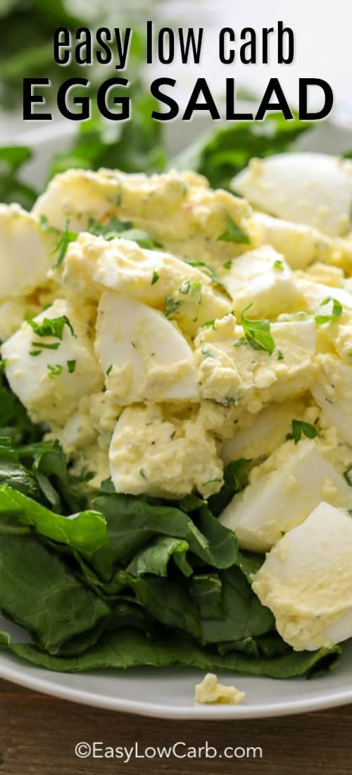 This easy low carb egg salad begins with fresh eggs, boiled to perfection, cooled and chopped. To this, crisp celery, zesty relish or pickles and a healthy dollop of mayonnaise are added to create this flavorful salad. #easylowcarb #easyrecipe #eggsalad #lowcarb #keto #withmayonnaise #easylunch #easydinner