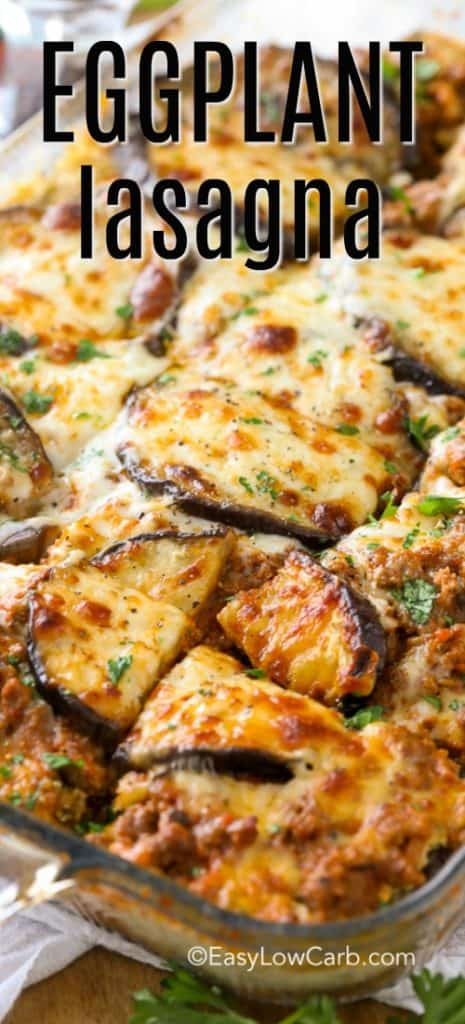 Perfectly browned eggplant lasagna in a clear baking dish and cut into serving sized pieces