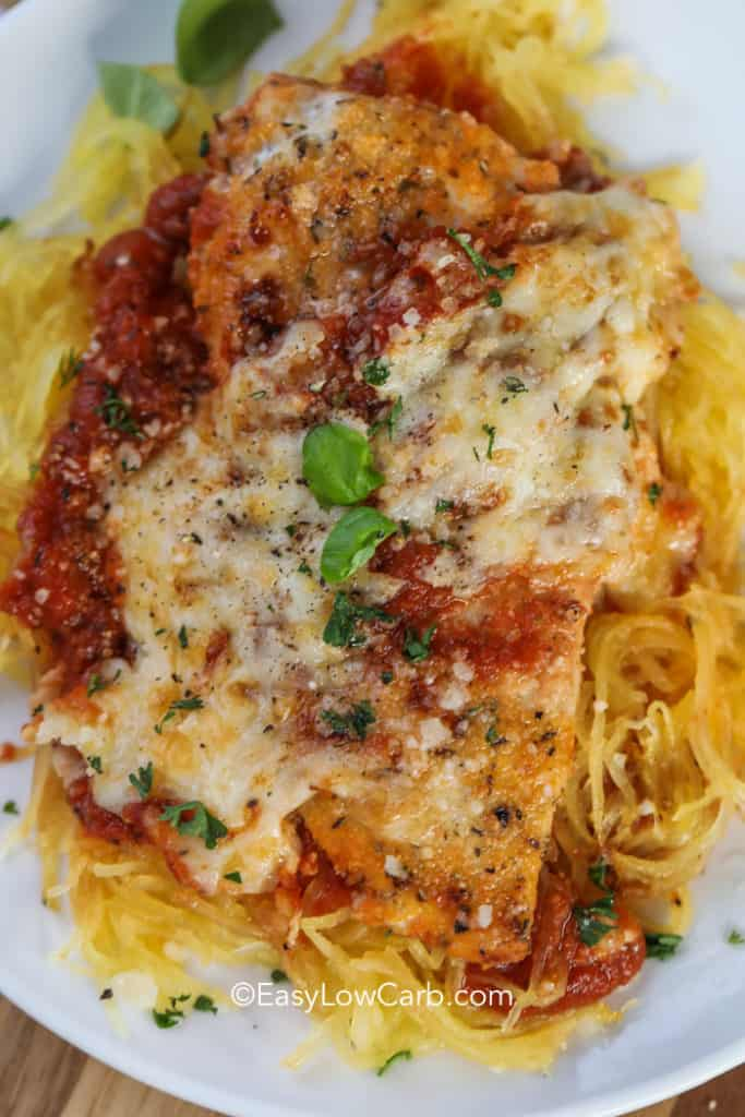 overhead of low carb chicken Parm on spaghetti squash