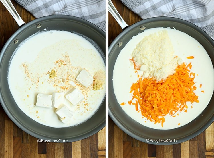 two process shots for making keto cheese sauce, ingredients in a skillet, with added ingredients in next skillet