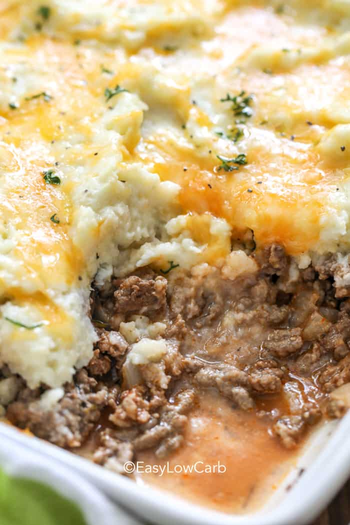 Low Carb Shepherds Pie dish with a piece out of it