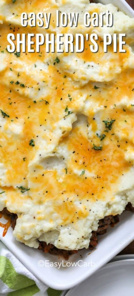 overhead of baked low carb Shepherd's Pie