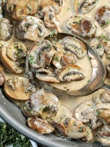 Dijon Mushroom Cream Sauce on a serving spoon