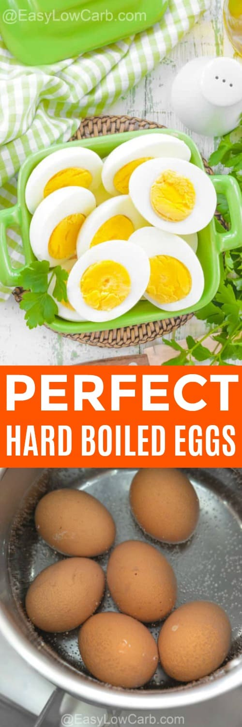 overhead of hard boiled egg halves in a dish, with hard boiled eggs in a pot