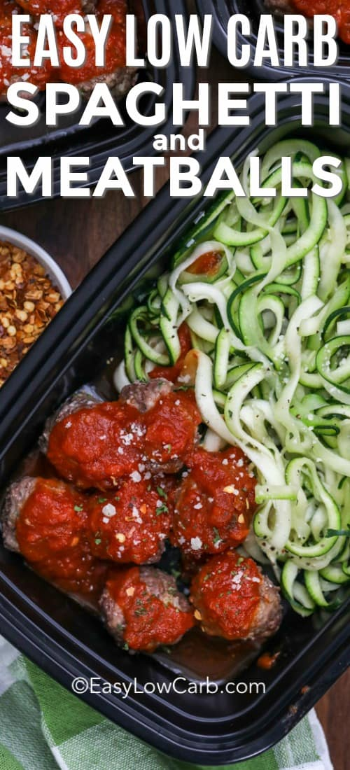 Keto spaghetti and meatballs are made by spiralizing zucchini to create zoodles. Then topping with savory meatballs and a low carb pasta sauce. This dish can easily be meal prepped and stored in the fridge for up to 4 days or the freezer for 4 months. #easylowcarb #spaghettiandmeatballs #maindish #lowcarbspaghetti #mealprep #Italian #zoodles #freezermeal