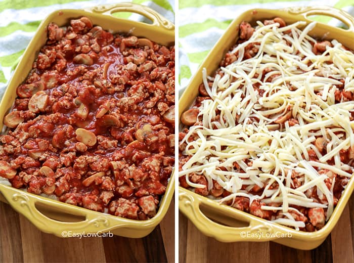 Two process photos of this tomato casserole. Left photo shows the rich tomato layer while the right photo shows the mozzarella cheese on top.