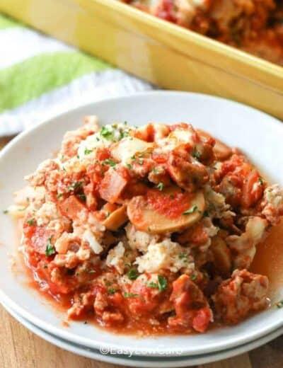 Creamy Tomato Casserole on a white plate
