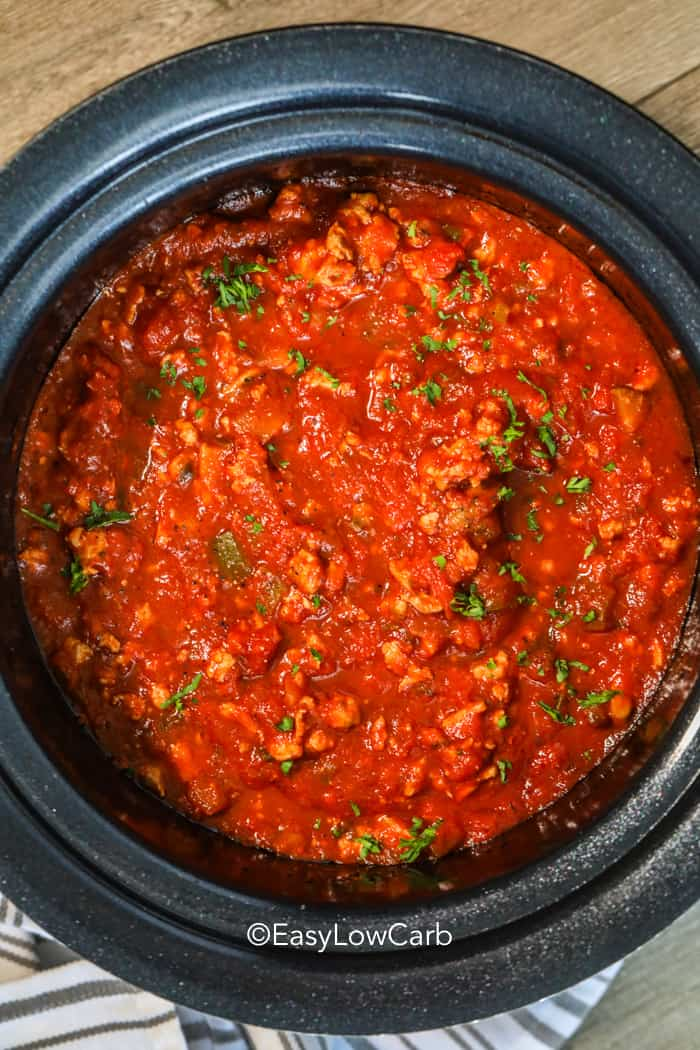 Crockpot full of healthy spaghetti sauce