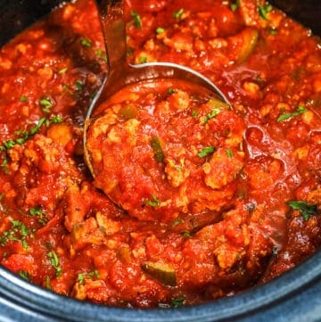 ladle of Healthy Slow Cooker Spaghetti Sauce