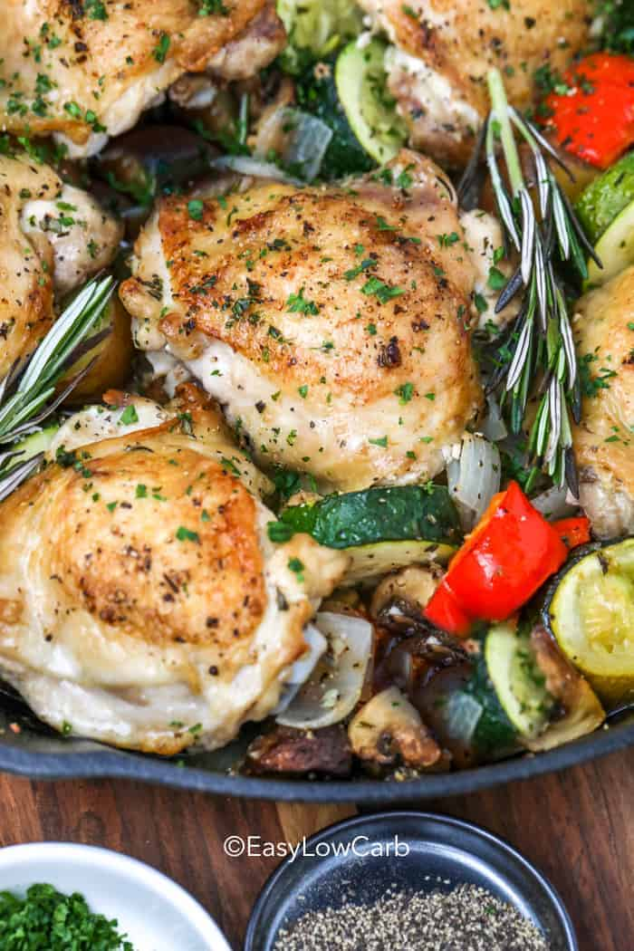 Lemon Rosemary Chicken with veggies in a skillet