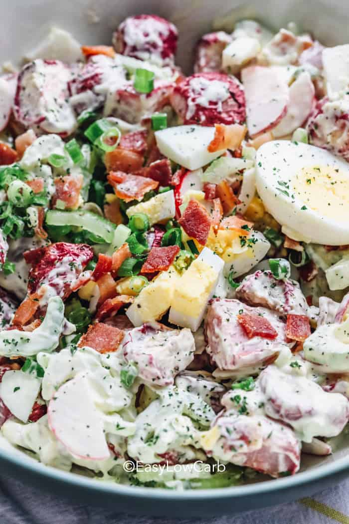 Radish Salad with eggs in a bowl