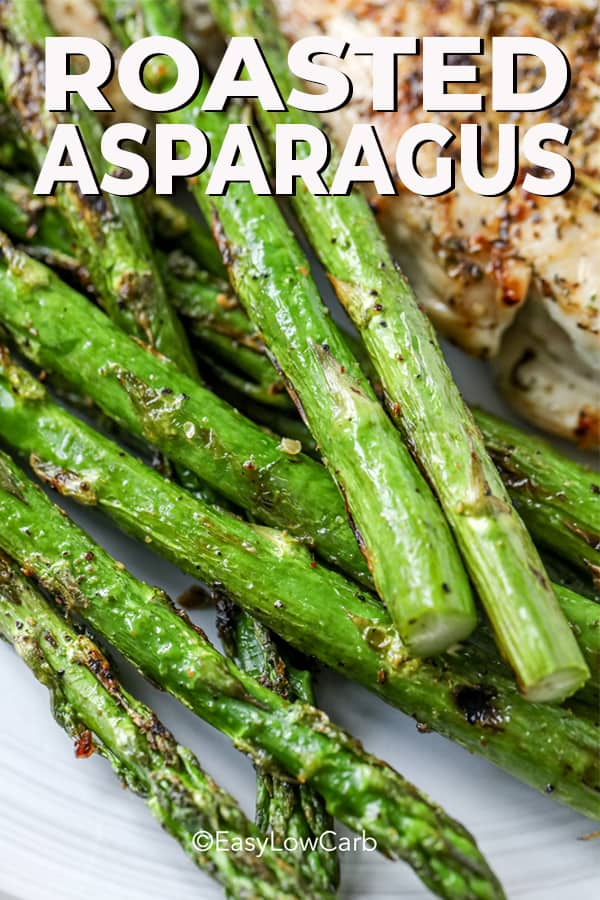 closeup of roasted asparagus