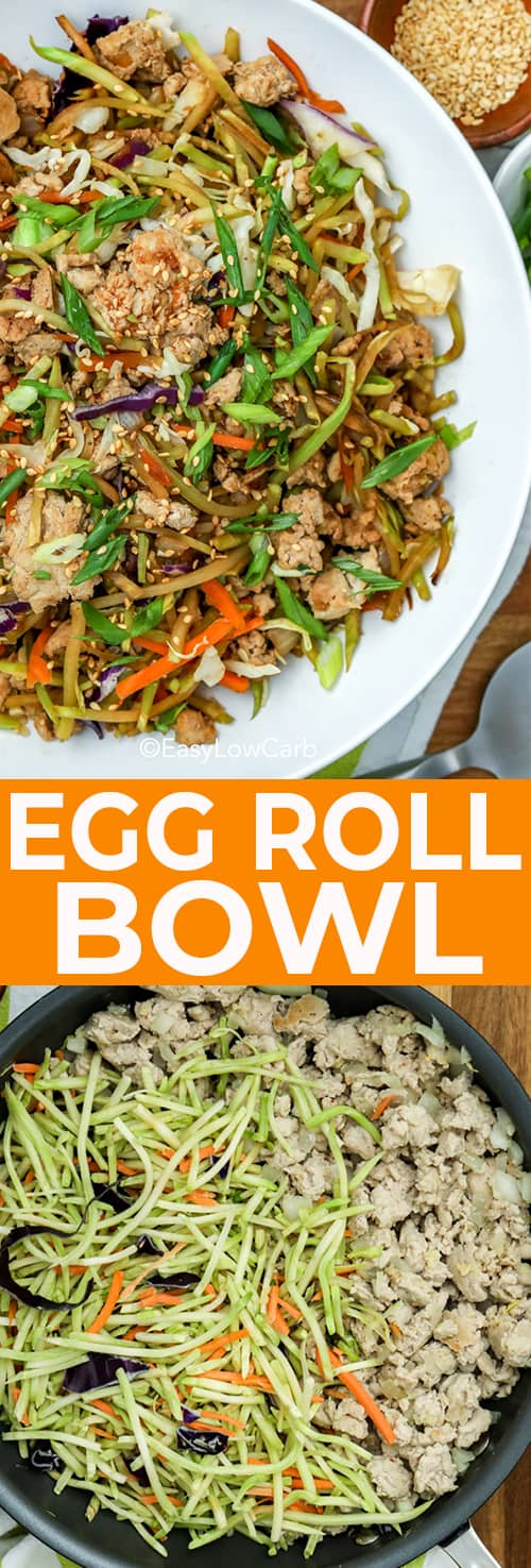 Egg Roll Bowl cooked in a serving bowl and in the pan, part way cooked
