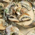 closeup of scooping mushroom sauce from the pan