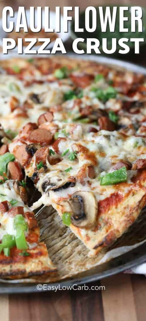 Cauliflower Pizza Crust with assorted pizza toppings