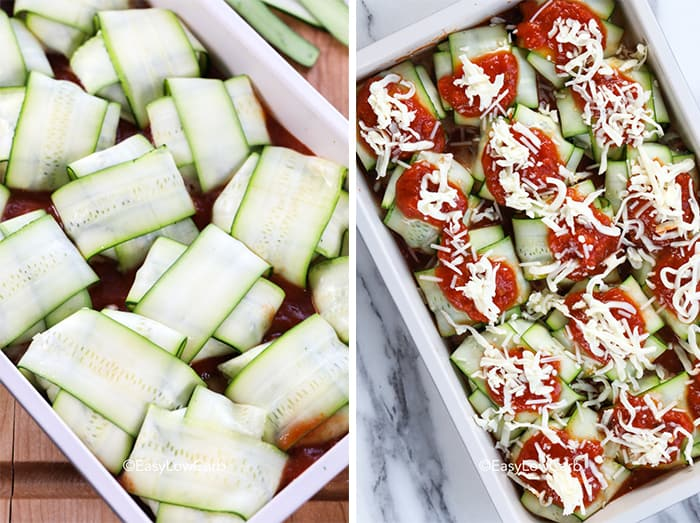 The left photo shows zucchini ravioli, formed in a criss cross pattern, placed in a baking dish. The right photo shows the ravioli with sauce and cheese on each piece.
