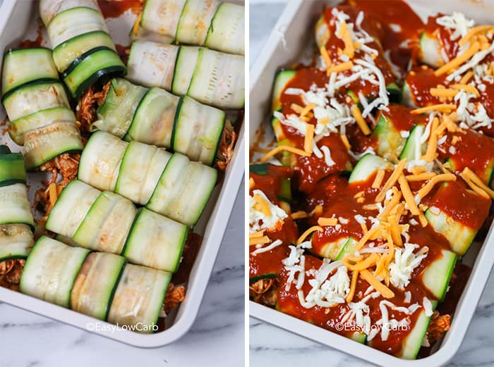 Two images showing rolled zucchini enchiladas in a casserole dish before and after being topped with sauce and cheese.