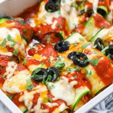 overhead of low carb Zucchini Enchiladas in a baking dish