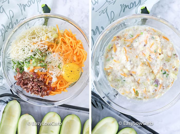 Left image - twice-baked zucchini boat filling ingredients in a glass bowl. Right image - filling ingredients mixed together in a glass bowl.